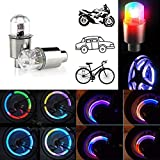 CJRSLRB 2Pcs Bike Wheel LED Lights, Tire Valve Led Light, Waterproof LED Wheel Tire Light, Spoke Flashing Lights, Colorful Wheel Valve Lamp for Bicycle, Car, Motorcycle