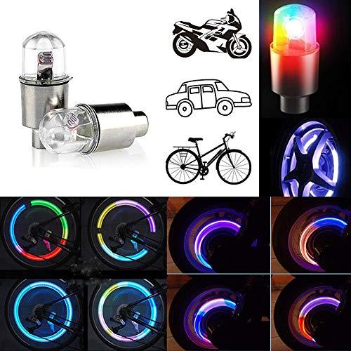 CJRSLRB 2Pcs Bike Wheel LED Lights, Tire Valve Led Light, Waterproof LED Wheel Tire Light, Spoke Flashing Lights, Colorful Wheel Valve Lamp for Bicycle, Car, ()