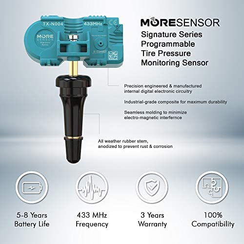 MORESENSOR UNI-Series 433MHz Pre-Programmed TPMS Tire Pressure Sensor TX-S003-SN Snap-in Compatible with Select 450+ European Brand Models 36236798726