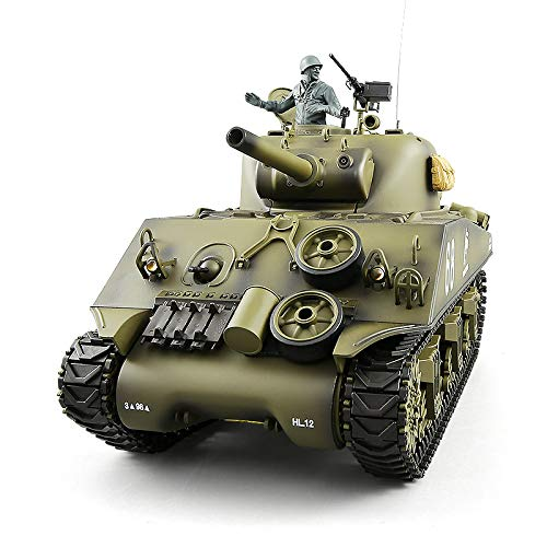 Heng Long RC Tank Pro Edition TK6.0 Remote Control 1/16 Scale US M4A3 Sherman RC Main Battle Tank with Metal Gearbox Tracks, 2.4Ghz Airsoft RC Tank - Electric Airsoft Battle Tank