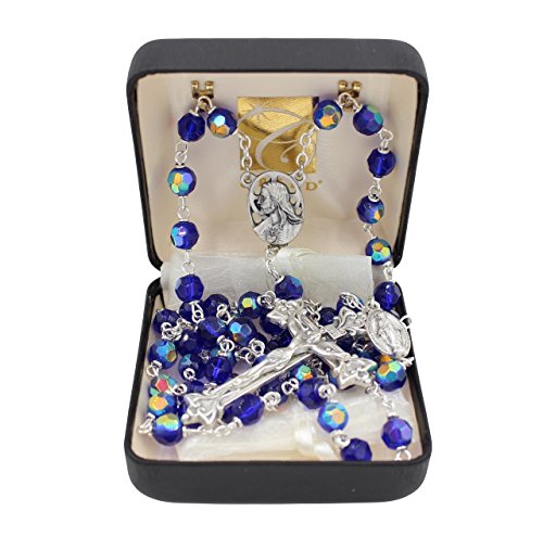 Bundle: 7mm Czech Fire Polished Bead Rosary with Organza Bag Sapphire Blue Color