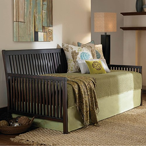 Mission Complete Wood Daybed with Link Spring and Trundle Bed Pop-Up Frame, Espresso Finish, Twin (Frame Daybed Mission)