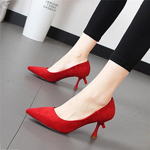 Xue zapatos femeninos singles princesa Zapatos rojo zapatos luz Roja Boda Qiqi los de Pajarita de zapatos punta El de salvajes 1wX1fr