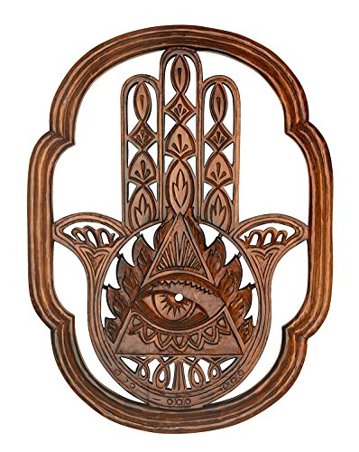 Hamsa Fatima Wood Rustic Hand Carved Large Wall Mounted Hanging Wooden Texture Art Sculpture Accents Textured Decorataive Boho Sign Home Decor (Wall Decor Panel Carved Wood)