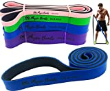 resistance bands with bar - Physix Gear Pull Up Assist Bands - Best Heavy Duty Resistance Band for Assisted Pullups, Muscle Toning, Legs Glutes Crossfit Physical Therapy Stretch Pilates & Yoga - Improve Mobility & Strength (BLU)