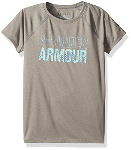 Wordmark Blue Youth Tee - Under Armour Girls' Wordmark Short Sleeve T-Shirt, True Gray Heather /Venetian Blue, Youth Small