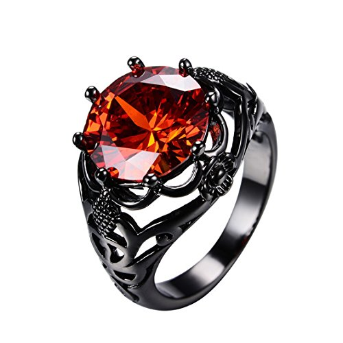 WOWJEW Vintage Hollow 5 Color Zircon Rings Wedding Ruby Jewelry 10KT Black Gold Filled Big Crystal 8 Claw Rings 8.0