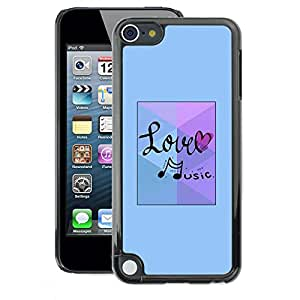 A-type Arte & diseño plástico duro Fundas Cover Cubre Hard Case Cover para Apple iPod Touch 5 (Love Music Note Blue)