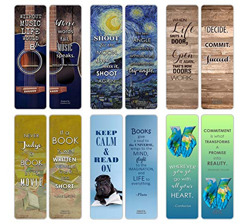 Creanoso Inspirational Bookmarks for Books (60-Pack) - Positive Wisdom Assorted Inspiring Quotes Bookmarker Cards Jane Austen - Motivational Encouragement- Best Quality Bulk Set]()