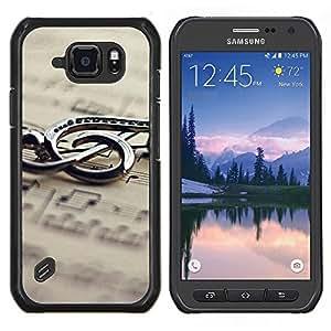 Caucho caso de Shell duro de la cubierta de accesorios de protección BY RAYDREAMMM - Samsung Galaxy S6Active Active G890A - Música de Metal Nota