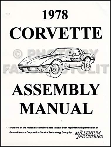1978 Corvette Factory Assembly Manual Reprint Chevrolet Amazon Com