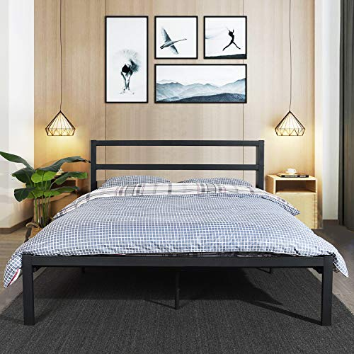 GreenForest Full Bed Frame Metal Bed Platform Wooden Slats with Headboard No Box Spring Needed,Black