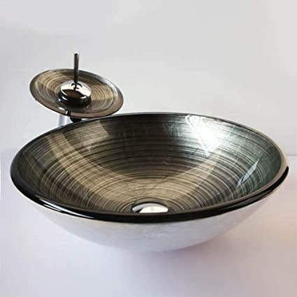 HomeLava Lavabo Vasque en Verre Trempé Gris, avec Robinet Cascade à poser  la salle de bain