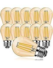 ProCrus E27 Vintage led-gloeilamp, G45 4 W, Edison ledlamp, 2700 K, warmwit, retro verlichting, filament, 300 lumen, vervanging voor 30 W gloeilamp, niet dimbaar, amber-ledlamp, 10 stuks