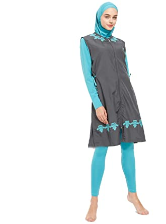 fd97ddf5fa Turkish Muslim Women Unlined Fully Covered Swimsuits Islamic Hijab Modesty  Swimsuit Costume Big Size (S