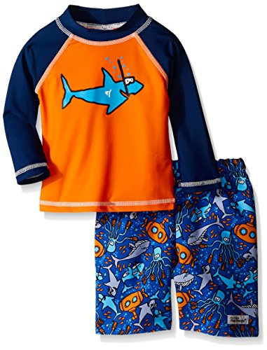 Flap Happy Little Boys UPF 50+ Graphic Rash Guard And Swi...