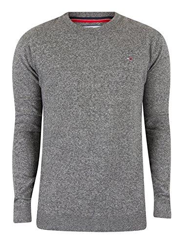 Hilfiger Denim Herren Pullover Thdm Basic CN Sweater 11 Grau (Dark Grey Htr 075), 44 (Herstellergröße: MD)