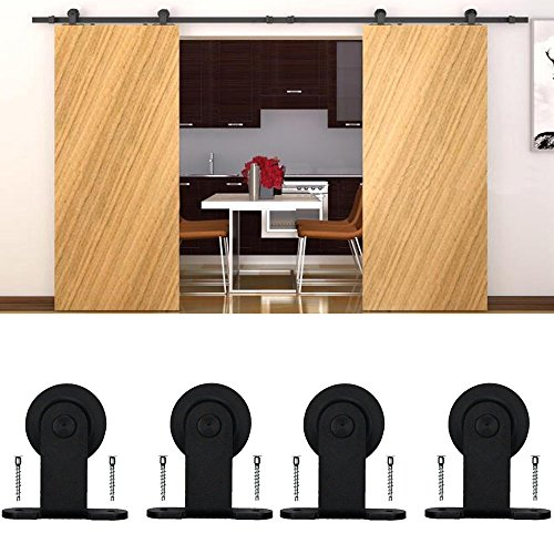 Resin Antique Ships Wheel (WINSOON Ship from USA Double Modern Barn Door Hardware Sliding Style Top Mount Roller Track Closet Kit System (6FT))