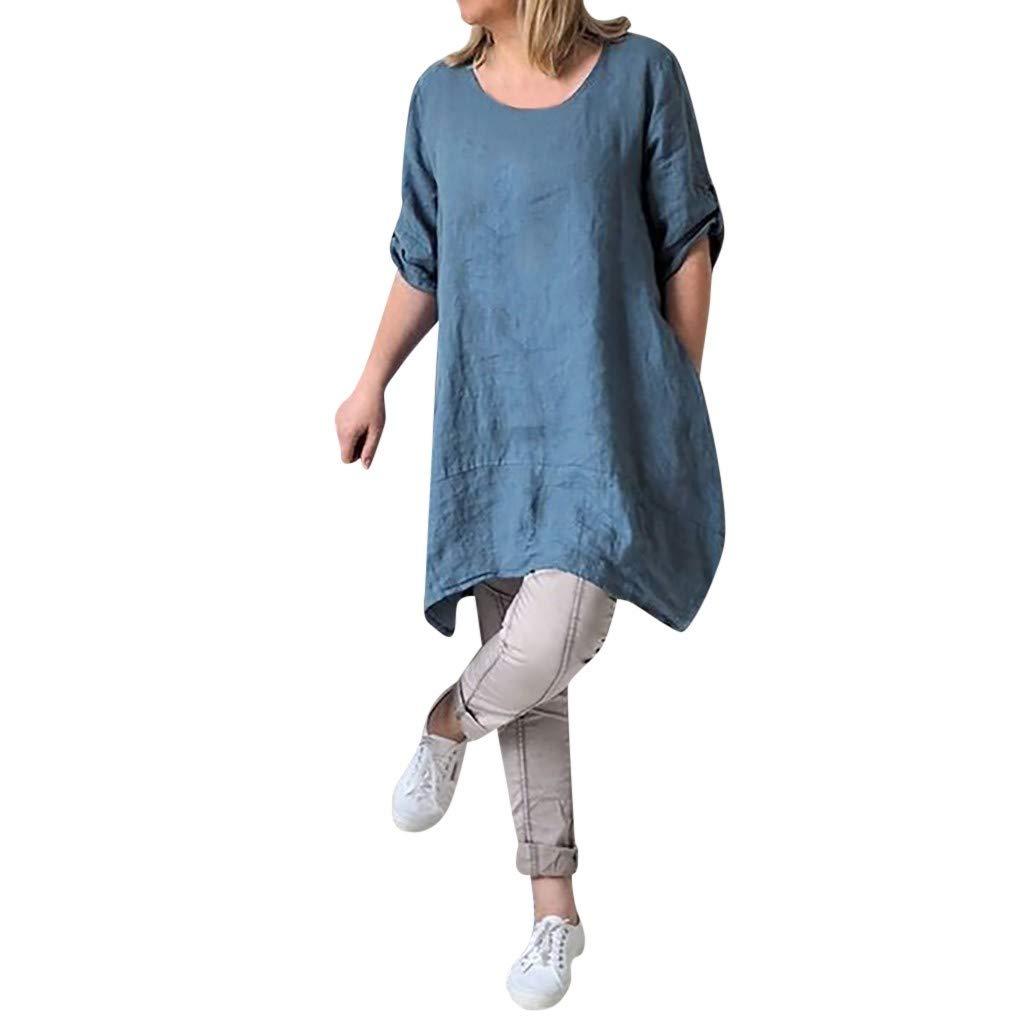 MOIKA Damen Kleider, 2019 Frauen-Sommerkleid Casual Große Größen Baumwolle Leinen T-Shirt Tops Tunika Kleid Rundhals Kurzarm Midi Kleid