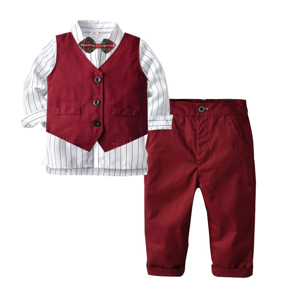 Baby Boy Formal Outfit Tuxedo Plaid Gentleman Suit Onesie Jumpsuit (1-2 Year Old, Red) by Happy Cherry