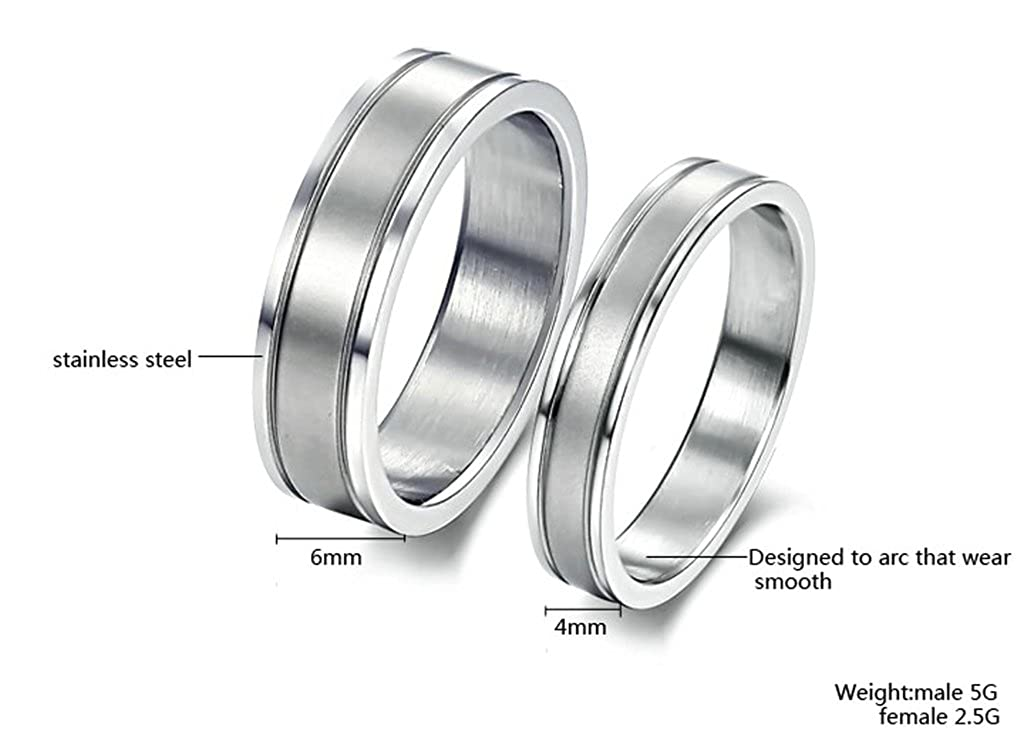 Bishilin His /& Her 2 Pcs Stainless Steel Bridal Set Wedding Band Engagement Rings with No CZ Women Size 5 /& Men Size 7