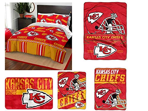 Northwest NFL Kansas City Chiefs Ultimate 9pc Ensemble: Includes Full Comforter, Full Flat Sheet, Full Fitted Sheet, Two Pillowcases, Rug, Two Throws, and Oversized Blanket