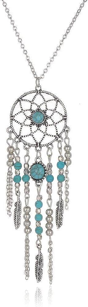 Inveroo Estilo Indio Caliente Nuevo Sueño Catcher Collar Tubo Collar Azul Piedra Borlas Perlas Collar Bijoux para Mujeres