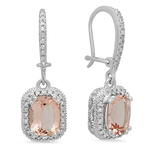 Dazzlingrock Collection 10K Cushion Morganite & Round White Diamond Ladies Halo Style Dangling Drop Earrings, White Gold ()
