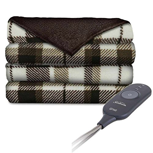 (Sunbeam Microplush Comfy Toes Electric Heated Throw Blanket w Foot Pocket Allister Plaid)