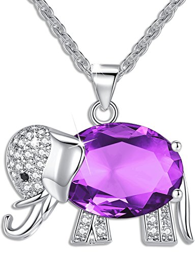 Womens and Girls Pendant Necklace Jewelry Purple Crystal Elephant Best Gift for Ladies