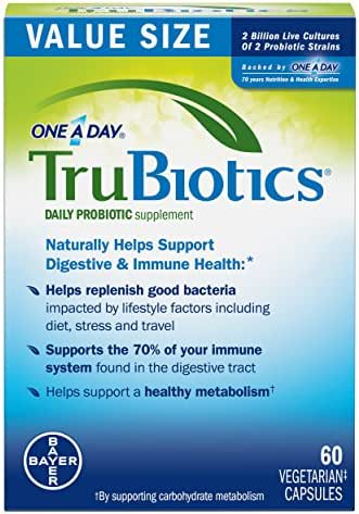 TruBiotics Daily Probiotic, 60 capsules - Gluten Free, Soy Free Digestive + Immune Health Support Supplement for Men and Women