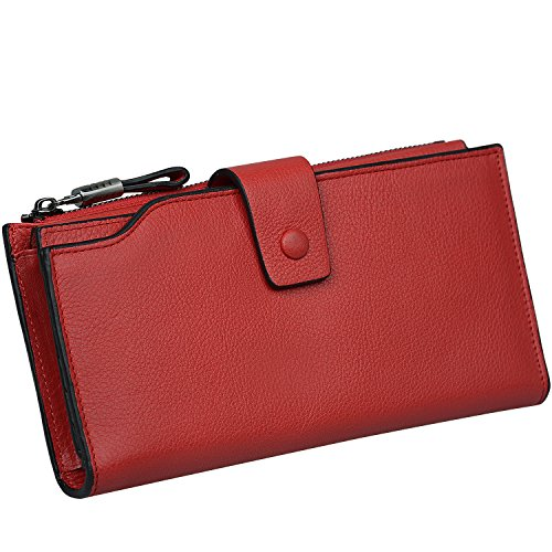 Color Block Genuine Leather - Jack&Chris Women's RFID Blocking Luxury Genuine Leather Clutch Wallet Card Holder Organizer Ladies Purse,WB302O red
