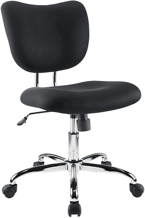 Brenton Studio Jancy Mesh Fabric Low-Back Task Chair, Black/Chrome