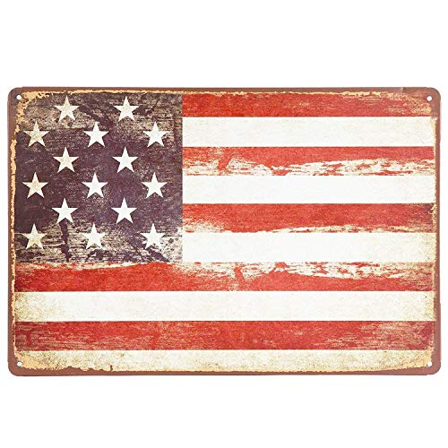 (UNIQUELOVER Patriotic American Flag Logo Retro Vintage Metal Sign for Home Wall Decoration 12