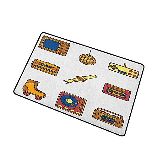 Wang Hai Chuan 90s Welcome Door mat Cartoon Illustration with Old Fashioned Technology Lifestyle Theme Nostalgic Artwork Door mat is odorless and Durable W31.5 x L47.2 Inch Mustard -