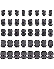 40 pcs Cable Gland Nylon Plastic Waterproof Adjustable, Cable Glands Joints Wire Protectors -Pg7, Pg9, Pg11, Pg13.5, Pg16 (8 Cable Glands per Size) by Yesallwas (Black)