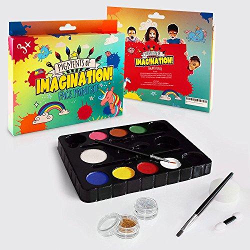 Face Paint Kit For Kids Professional: 8 Vibrant Colors, 2 Glitters, 2 Brushes, 2 Sponges - Pro-Quality Face Painting Party Set - Safe NonToxic Palette