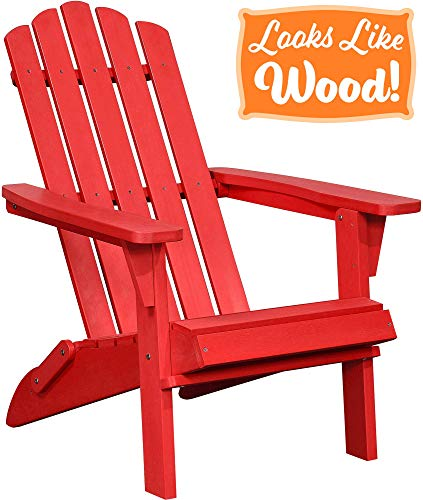 PolyTEAK Classic Folding Poly Adirondack Chair, Cardinal Red | Adult-Size, Weather Resistant, Made from Plastic (Adirondacks Weather)