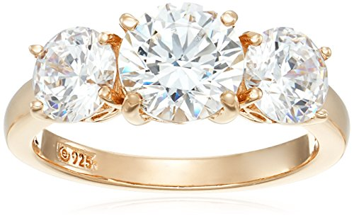Yellow Gold Plated Sterling Silver Swarovski Zirconia Round 3 Stone Ring, Size 8