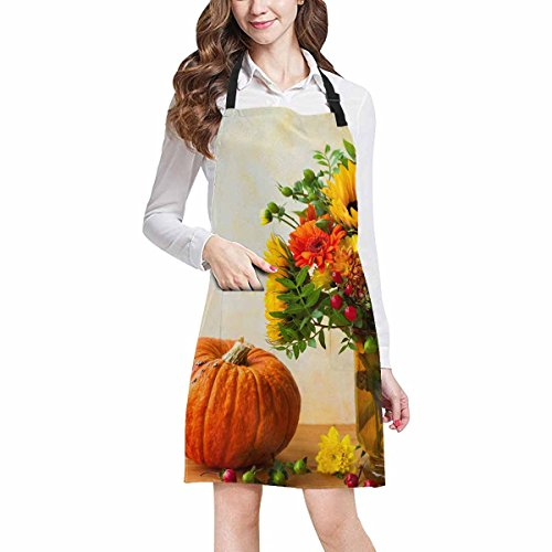 InterestPrint Abstract Autumn Still Life with Flowers and Pumpkin Home Kitchen Apron for Women Men with Pockets, Unisex Adjustable Bib Apron for Cooking Baking Gardening, Large Size by InterestPrint