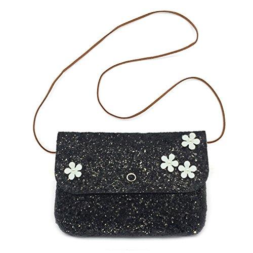 Elesa Miracle Little Girl Bag Kids Crossbody Purse Messenger Bag Party Handbag Shiny Bling Bling Shoulder Bag (Black) (Party Girls Handbag)