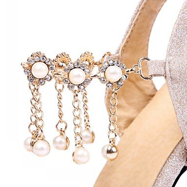 EU34 Little Dress Career UK2 Heel Sliver Comfort Buckle Pink Rose Casual Stiletto Sandals Leatherette Office Pearl Nude RTRY amp; Kids Imitation US3 Summer n10qYRwH