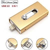 Tipmant 64GB Cell Phone USB 3.0 Flash Drives for iPhone 5 6 7 Plus, iPad OTG iOS Lightning Apple Flash Memory Stick Card Storage 3in1 - Gold