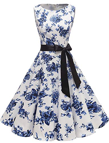 Gardenwed Women's Audrey Hepburn Rockabilly Vintage Dress 1950s Retro Cocktail Swing Party Dress Blue Flower M