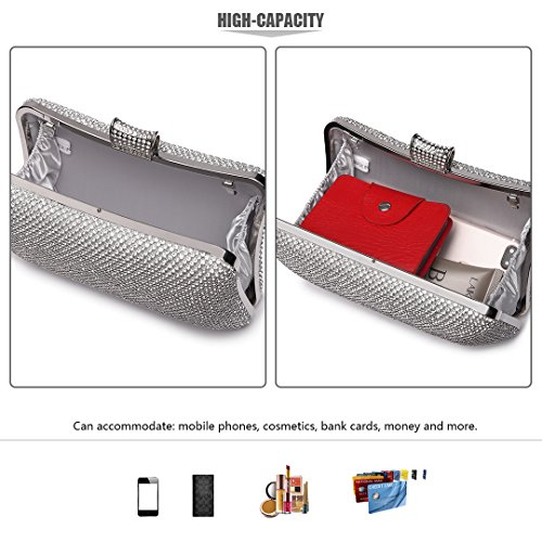 Wedding 1825 White Women Kono Bags Evening Party Rhinestone Fashion Elegant Purse Clutch xqWfW1wvU0