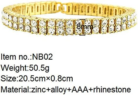 MCSAYS Fashion Hip Hop Double Row Rhinestone CZ Crystal Tennis Chain Mens Bling Bling Bracelet Iced Out
