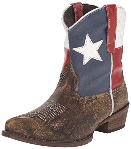 Roper Women's Texas Beauty Ankle Bootie, Brown, 5 B US