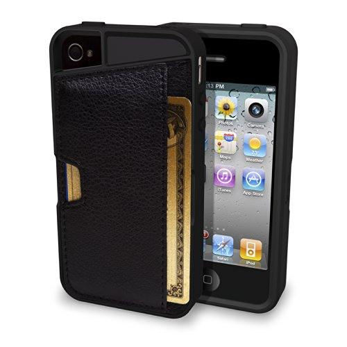 Smartish iPhone 4/4S Wallet Case - Q Card CASE [Slim Protective Cover] (CM4) - Black Onyx
