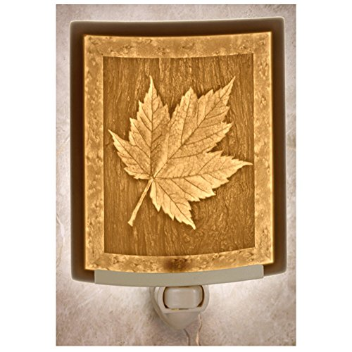 Maple Leaf Porcelain Garden Lithophane Night Light (Night Light Leaf Maple)