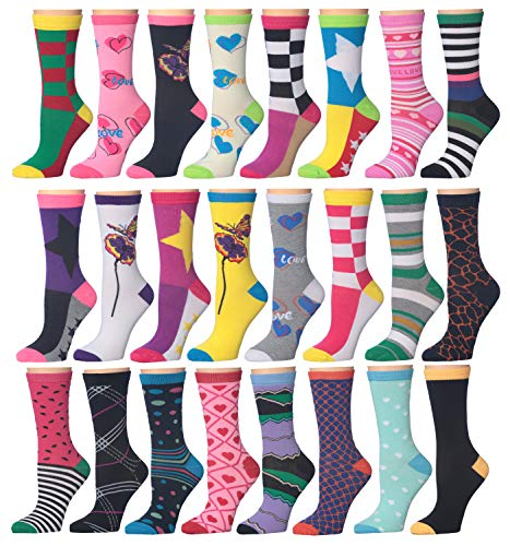 12 Pack Women Colorful Patterned Fashion Crew Socks by Frenchic (W 24 Pairs-4)